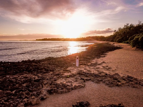 drone shot of turtle beach in oahu hawaii