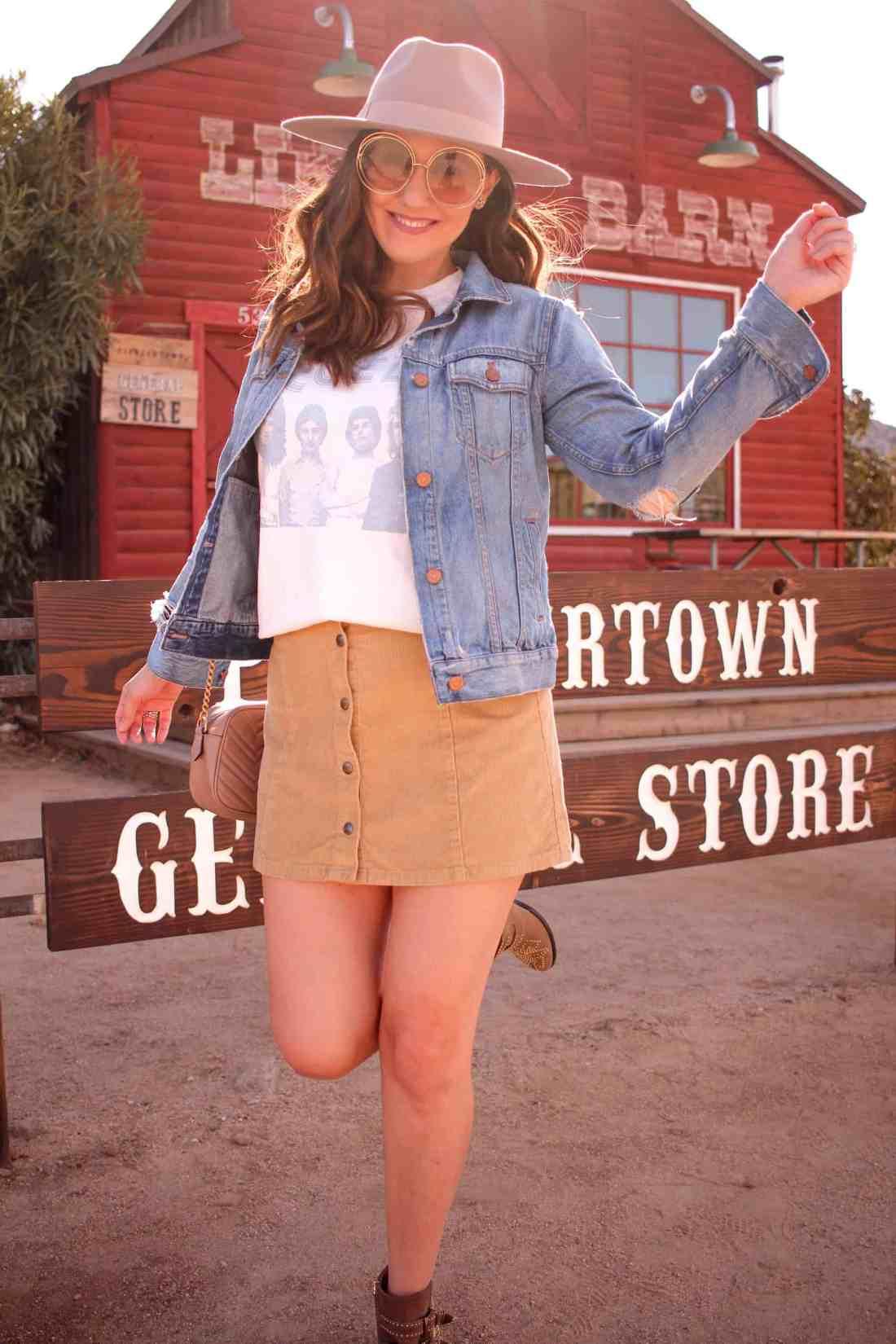 girl in front of pioneertown general store