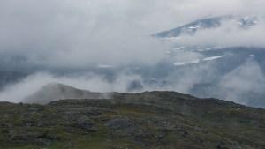 Låga moln över platån när vi gav oss iväg