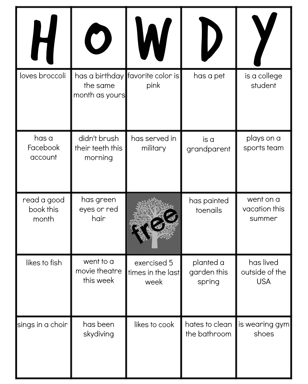 Personality Bingo Questions