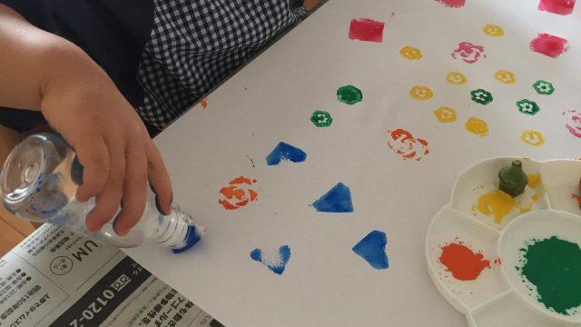 絵の具遊び スポンジスタンプ 1歳児 2歳児 簡単な作り方