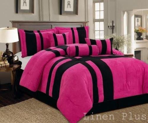 7 piece pink black micro suede