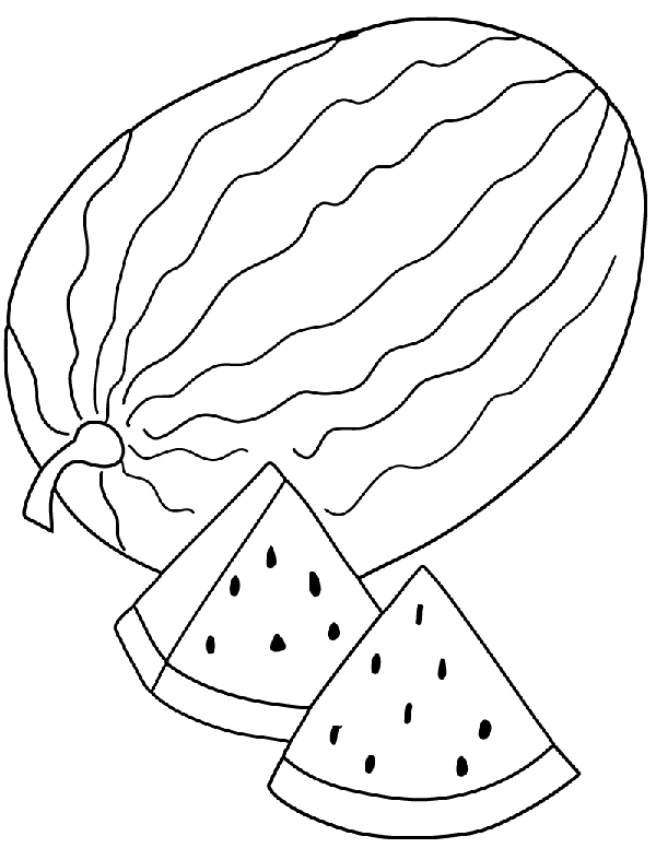 Watermelon Clipart Line Drawing