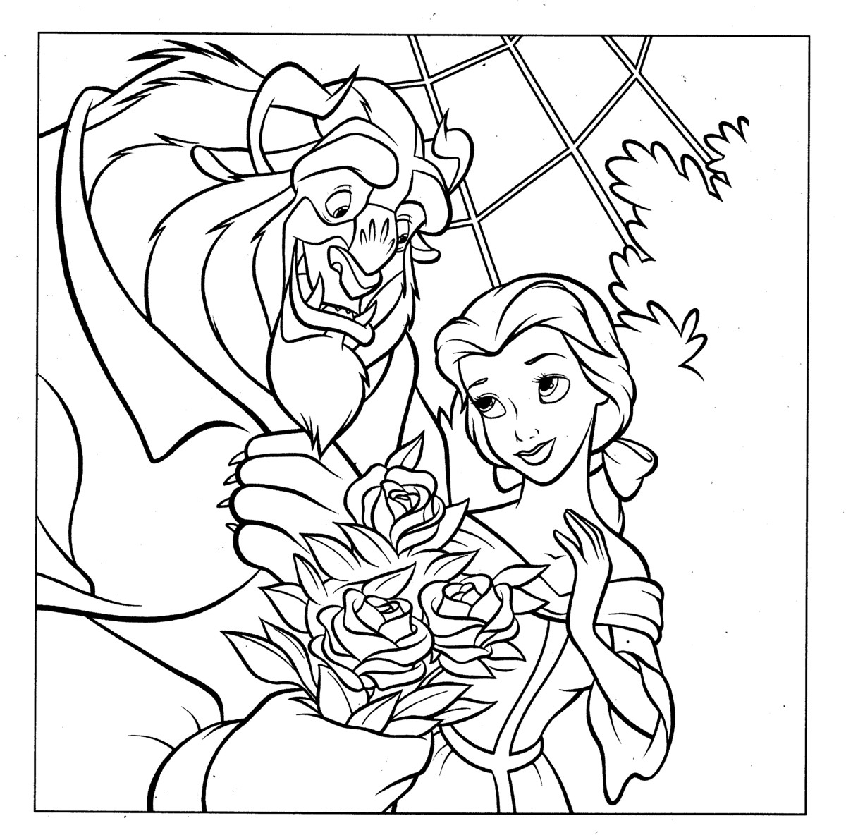Princess Belle and the beast Free Printable Coloring Pages