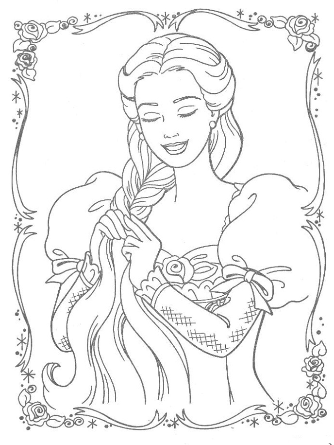 Rapunzel Disney Princess Coloring Pages Free Printable