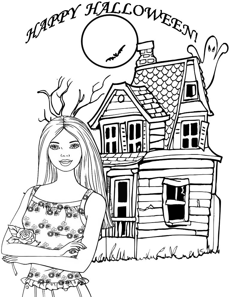 Barbie Halloween Coloring Pages Free Printable Coloring