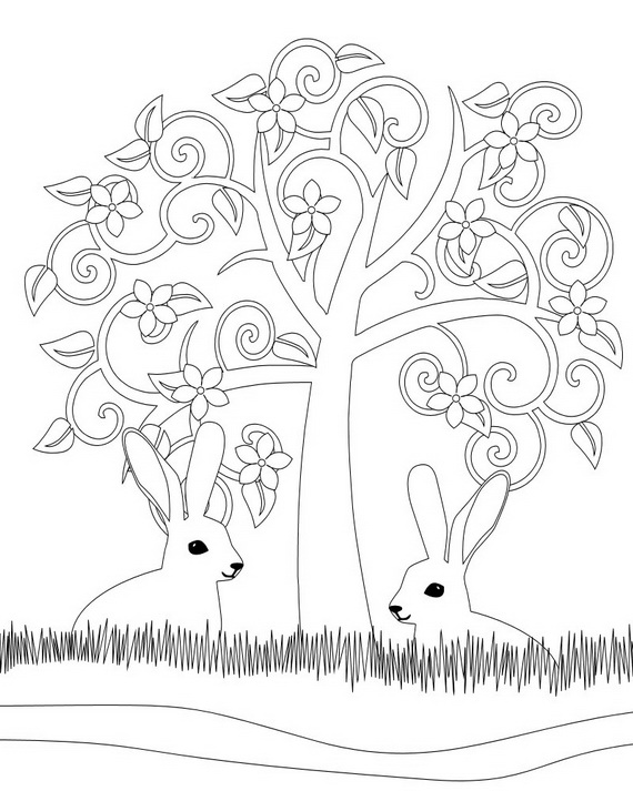 Tree Spring & Easter Holiday Adult Coloring Pages Designs