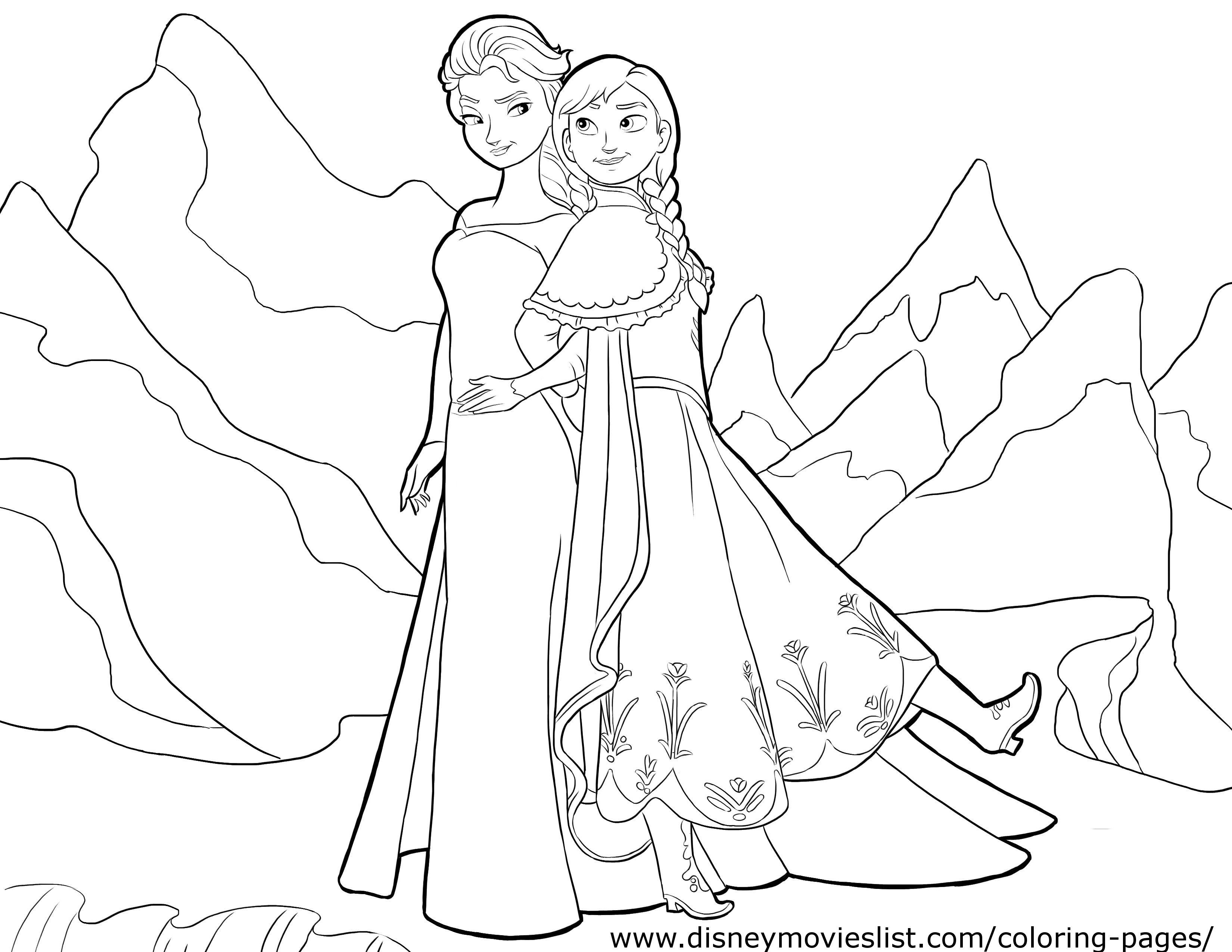 Two Princess Nature Coloring Pages For Kids Free Printable