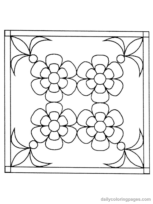 Flower Square Stained Glass Coloring pages Free Printable