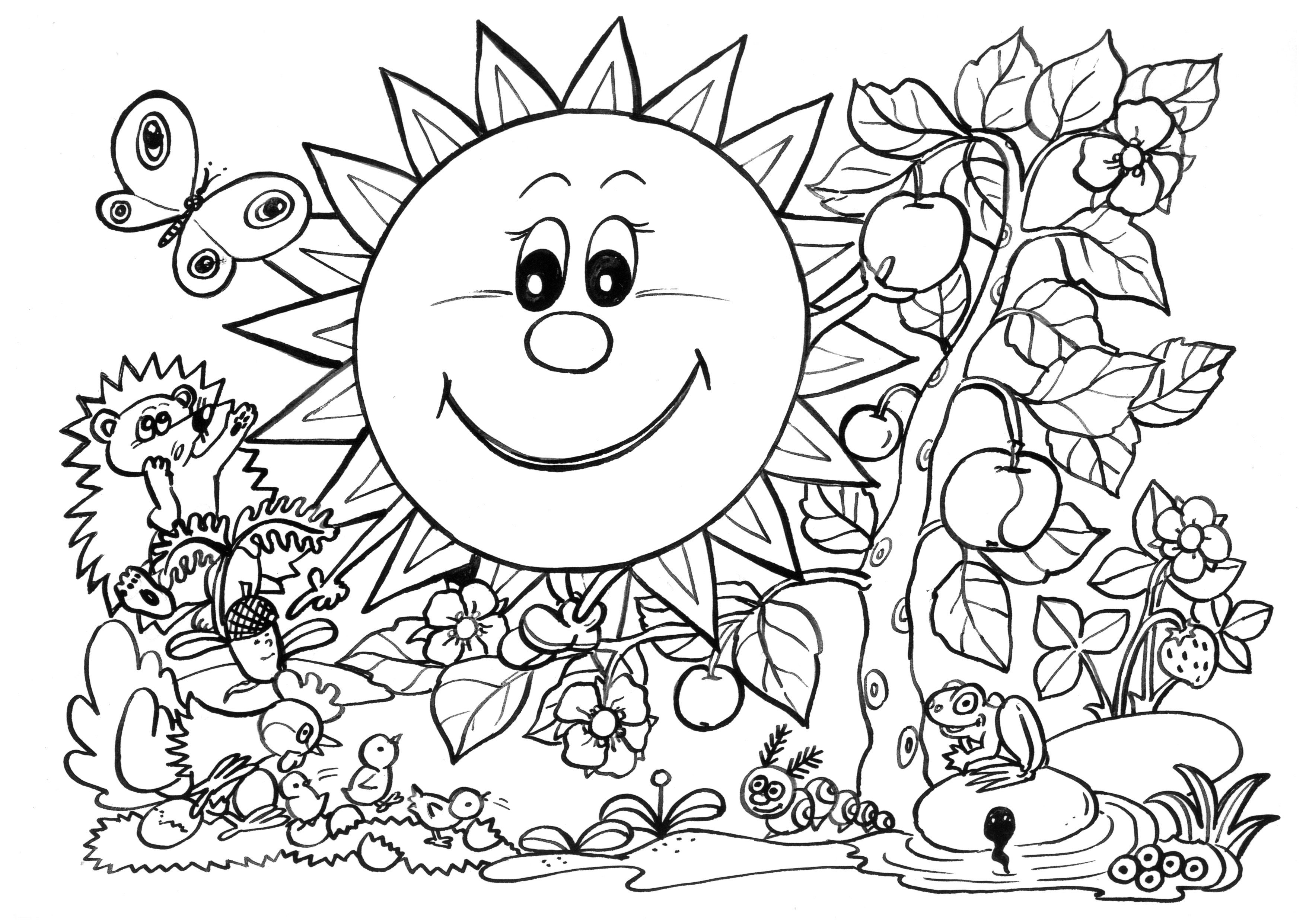 Spring Coloring Pages SUNNY + GARDEN Free Printable