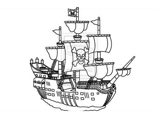 Big Pirate Ship Coloring Pages For Kids