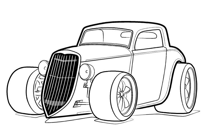 Hot Rod Large Tire Coloring Cars