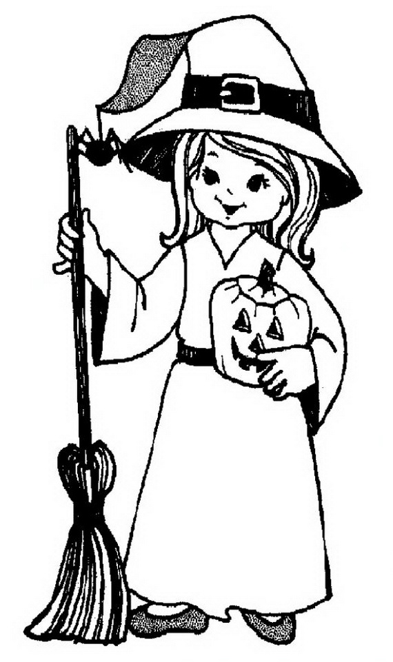 Miss Costume Halloween Colouring Pages Free Printable