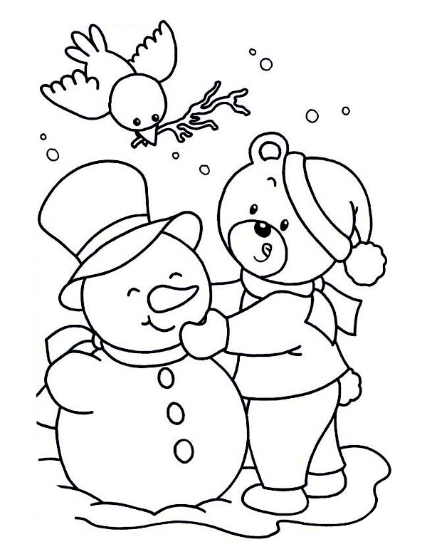 Cute Snowman Print Coloring Pages For Kids Free Printable