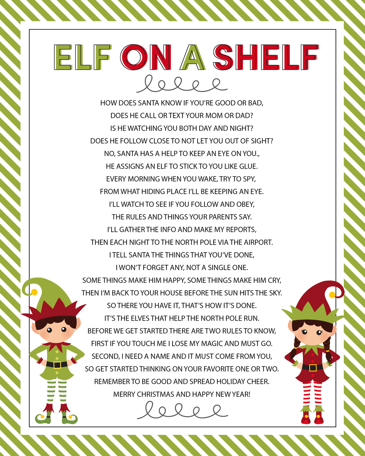 Elf On The Shelf Arrival Letter Poem