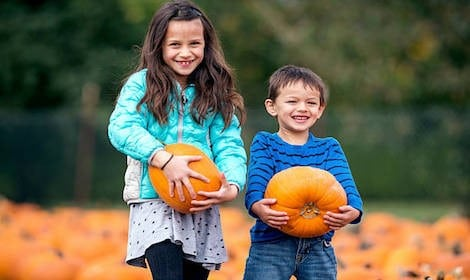 2 kids smiling holding pumpkins in pumpkin patch