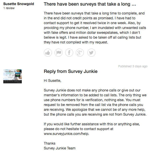 Survey Junkie Review From Trust Pilot #1