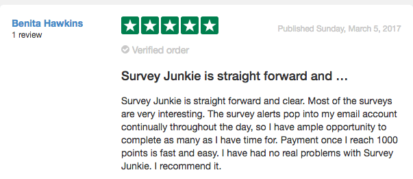 Survey Junkie Review From Trust Pilot #2