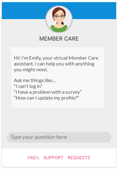 OneOpinion member care panel screenshot