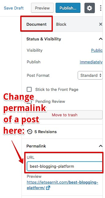 change permalink of a post