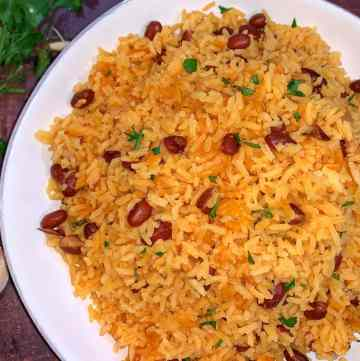 yellow rice and red beans