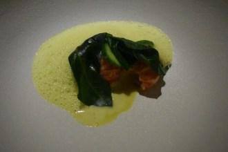 """""""Crayfish"""" - Simply blanched & smoked, pineapple, kerang darah, kangkung, batak sauce"""