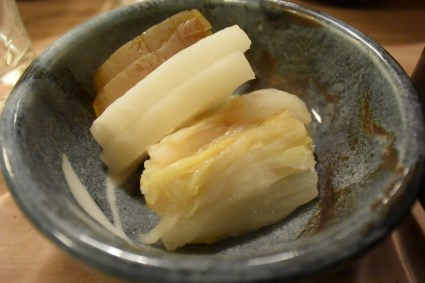 Pickled vegetables to accompany the una-ju.