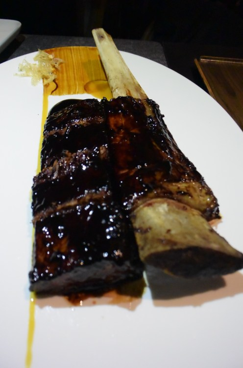 The short-rib after being plated to serve.