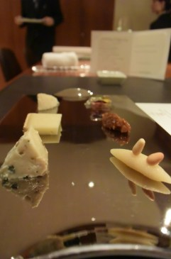 Cheese plate- vezelay with gewurztraminer jelly, tomme de savoie with tartar of figs, valdeon with marzipan.