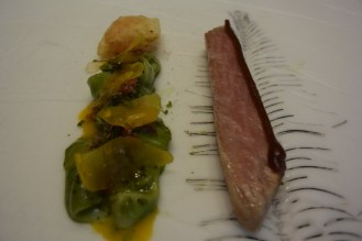 "Grilled semi-baked red tuna with shiso and lime pesto ""fetuccini,"" quali fried eggs, botargo, and bacon!!!"