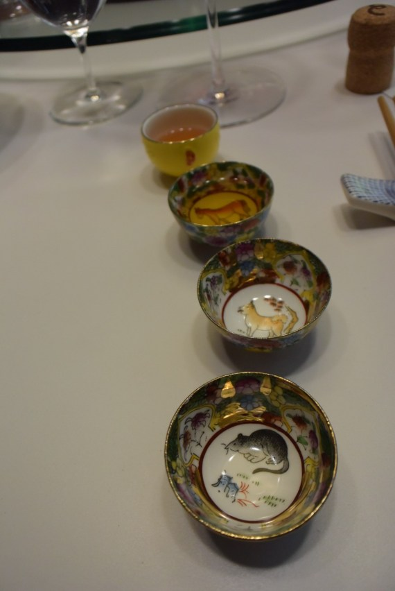 Each dish was paired with a sweet wine in these cute little cups.