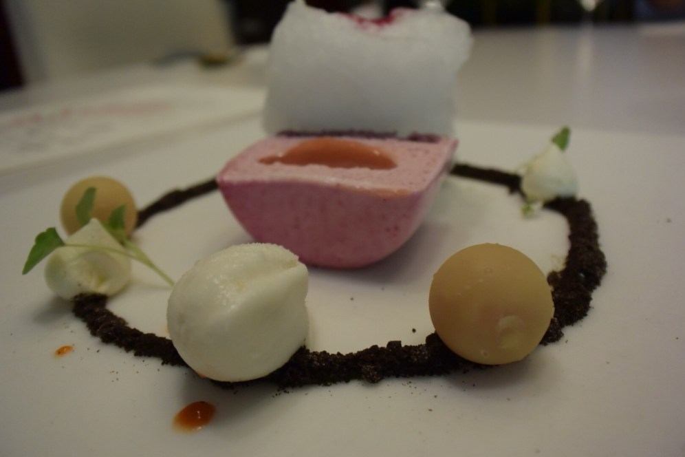 Guava creamy pie, white chocolate, calamansi, and beetroot...thai basil, lychees, and chocolate cookie powder.