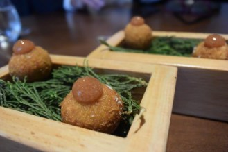 Black pork croquettes.