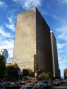 """UTC's iconic """"Gold Building"""" headquarters in downtown Hartford."""