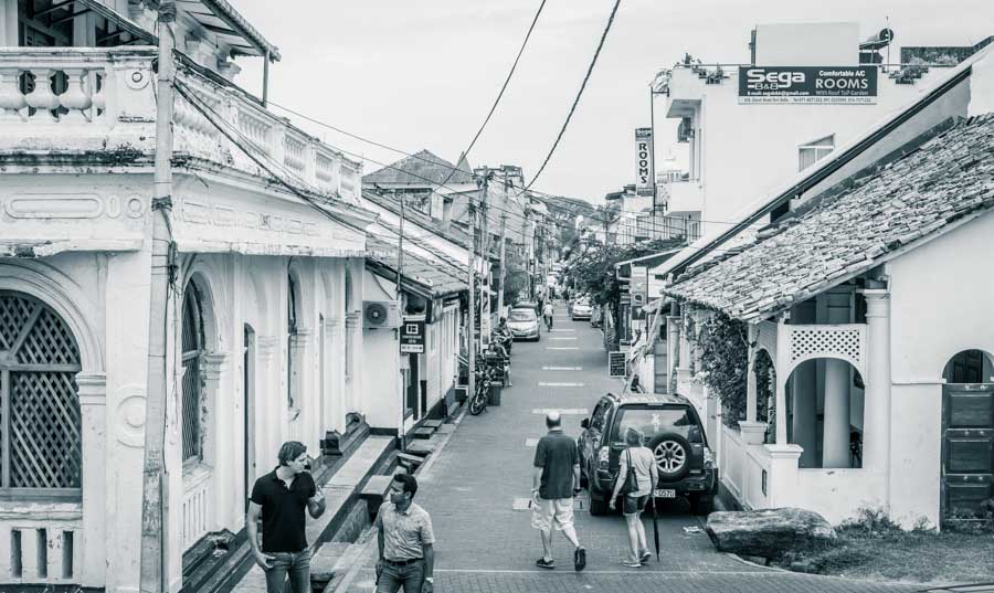 Galle Fort building and narrow streets