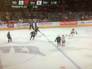 Notre Dame was offside as they entered the zone on their tying goal.