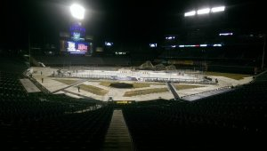 View of the ice from the concourse behind home plate.