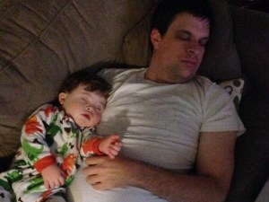That was a fun day! It looks like daddy had a long day at work so we are just going to chill. I think it might be bedtime.
