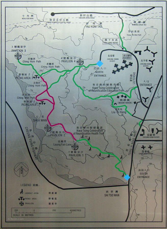 長宏巴士總站(北面入口) > 青衣自然徑 > 青衣西路(南面入口)