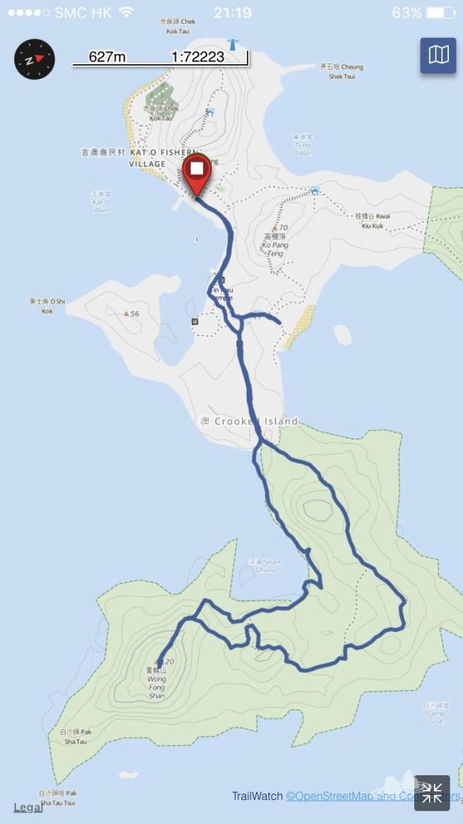 吉澳碼頭>中間澳>西澳>吉圍徑>黃幌山>深涌>吉圍徑>吉澳碼頭