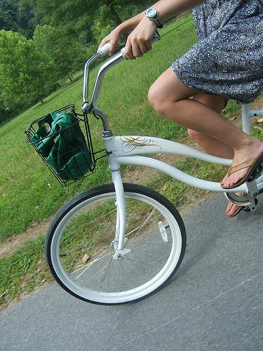 Kristi pedaling along