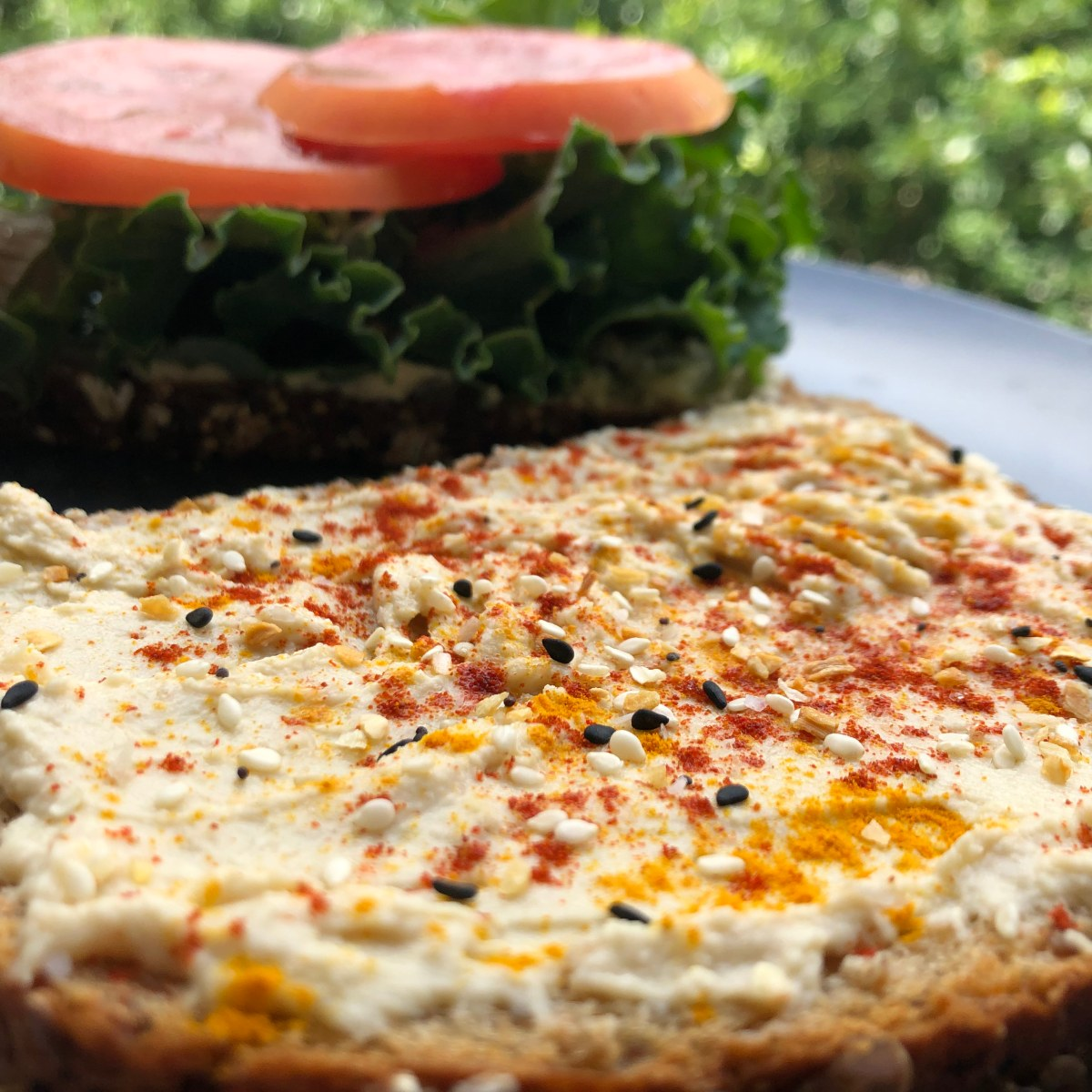 Hummus and Kale Sandwich