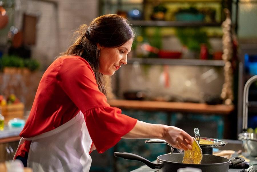 Nadia the vegan on SBS's Chefs Line Program