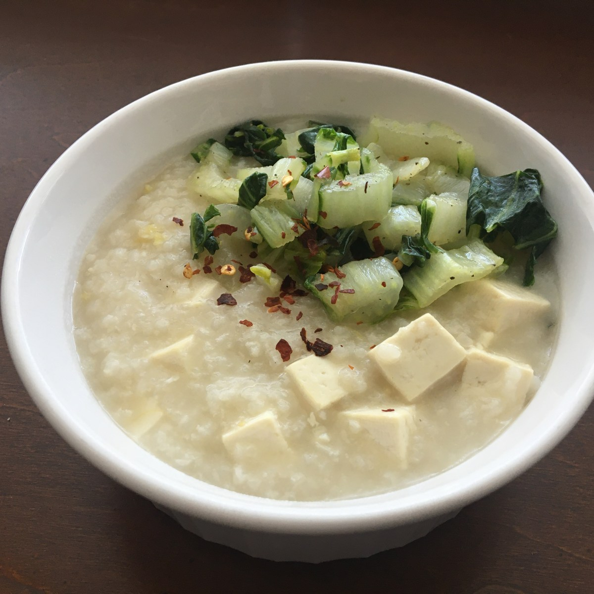 Vegan Lugaw w/ Salt & Pepper Bok Choy
