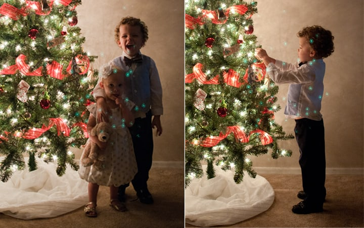 How To Take Pictures By The Christmas Tree - Take the filter off the lens or you'll have ghosting!