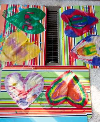 Simple art project with items from around the house. *Love these heart sun catchers!