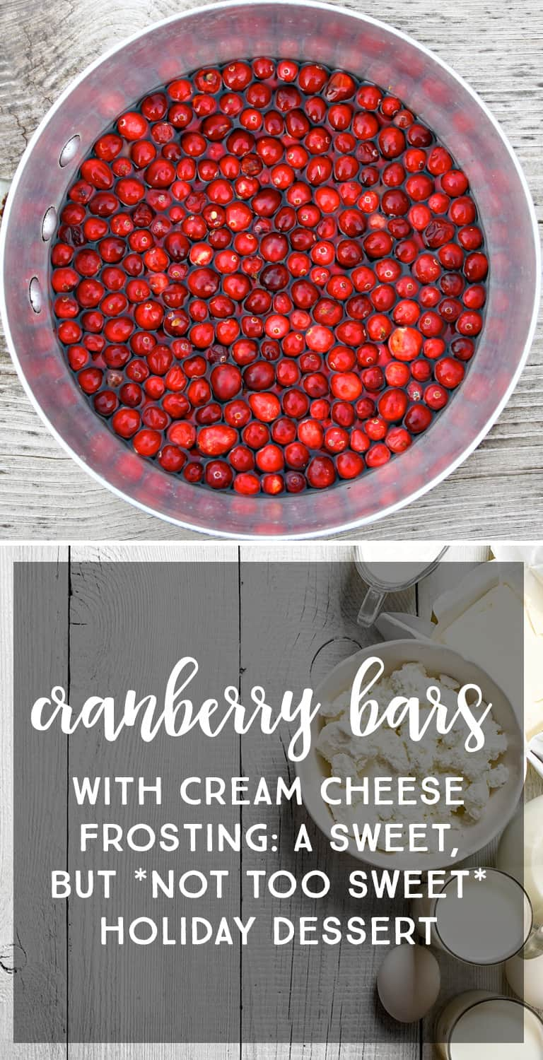 Cream Cheese Frosted Cranberry Bars: The perfect sweet, but not too sweet holiday dessert to go with coffee *My family loves this recipe