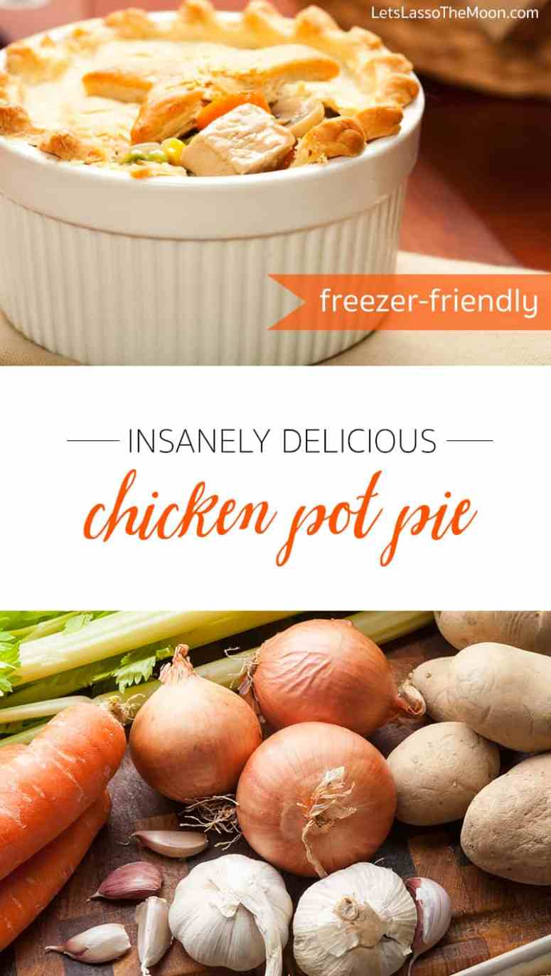 Insanely Delicious Homemade Chicken Pot Pie Recipe *Love that this uses rotisserie chicken and store-bought pie crust, but SKIPS the cream of chicken soup for a handmade roux with fresh veggies. A perfect in-between recipe... sound delicious.