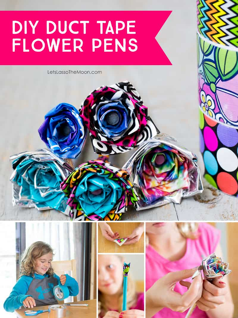 DIY Duct Tape Flower Pens — An Easy Video Tutorial for Kids by Kids *I never knew this was so simple. Saving this YouTube tutorial for the kids to do. Love that they have photo and video steps.