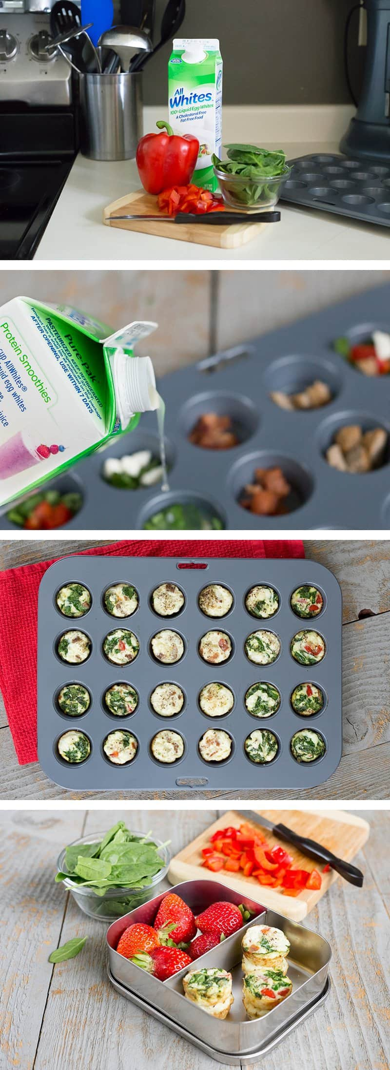 This healthy Red Pepper & Spinach Egg White Muffins recipe is packed full of protein, gluten-free, paleo-friendly and a quick on-the-go breakfast snack. You can make one batch to last a full week. *Insanely easy way to start your day with eggs